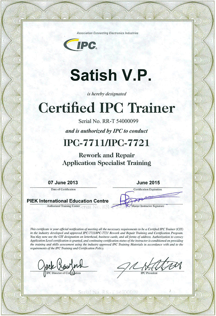 IPC Certificates of Satish IPC-7711/21