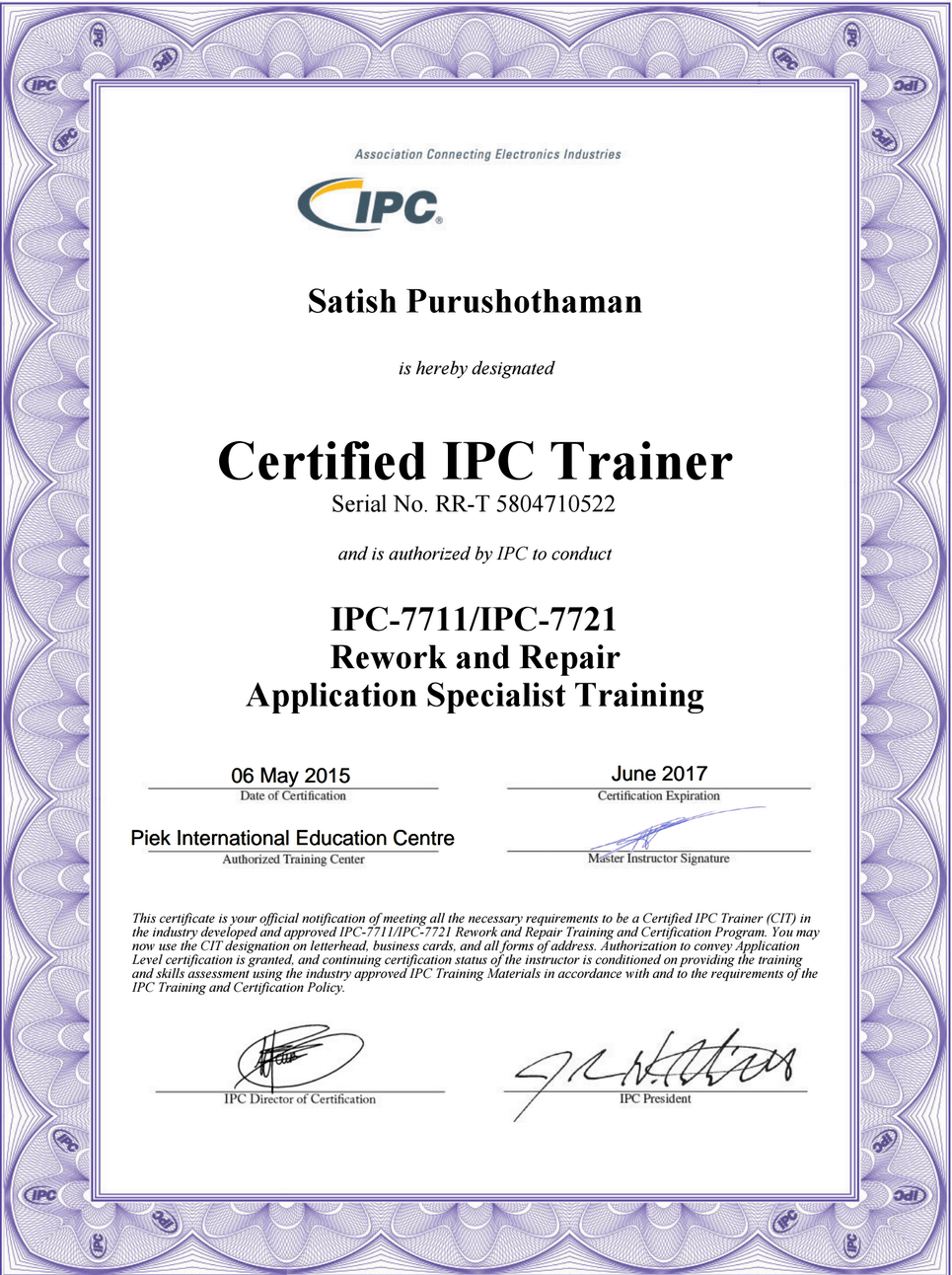 IPC Certificates of Satish IPC-7711/IPC-7721