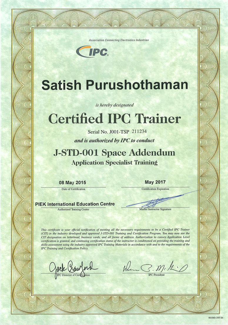 IPC Certificates of Satish - Space Addendum