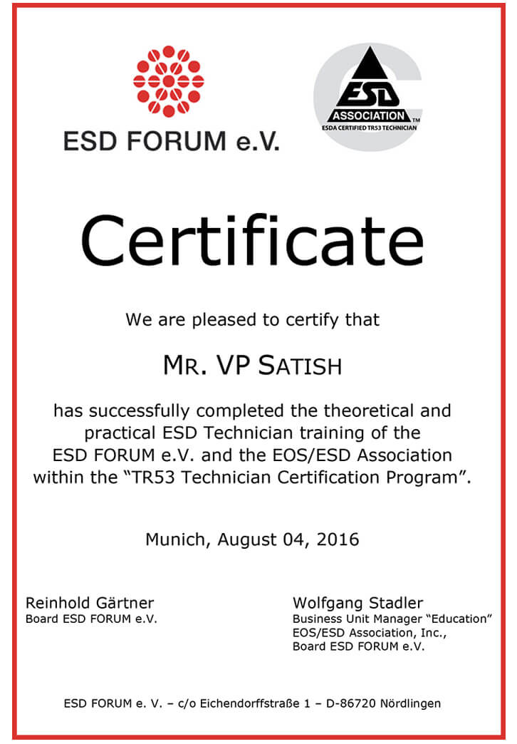 Esd Training Certifications Manifest Qualification Dedication