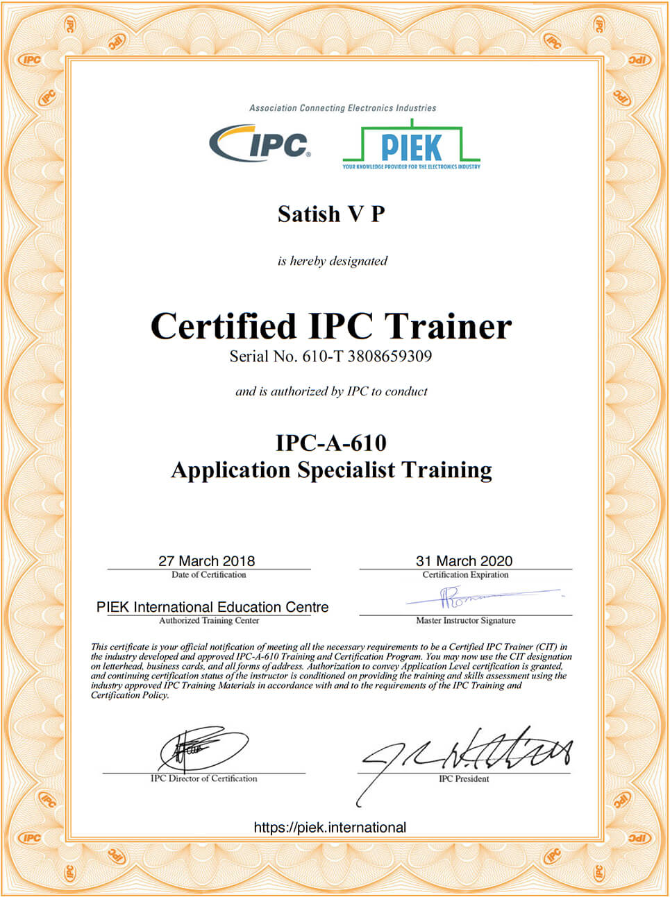 IPC Certificates of Satish J-STD-001